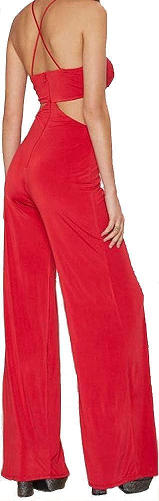 Ovender Tuta Donna Eleganti con Pantalone Lungo Jumpsuit Cerimonia Damigella Vestito Elegante Casual Party Intero Donna