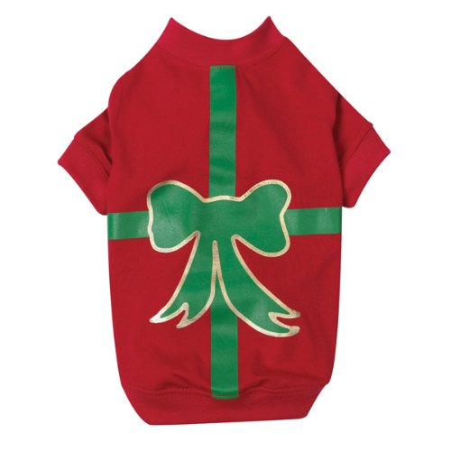 Casual Canine Polyester/Cotton Present Holiday Dog Tee, Large, 20-Inch, Red, My Pet Supplies