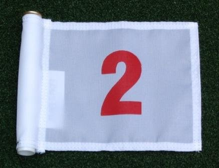 Red Numbered #2 printed on a solid White Jr. (8'' L x 6'' H) 400 Denier Pin Marker Flag For Golf & Putting Green Applications