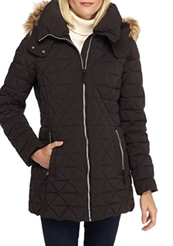 Marc New York Triangle Quilt Coat with Faux Fur Trim Hood (Black, Small)