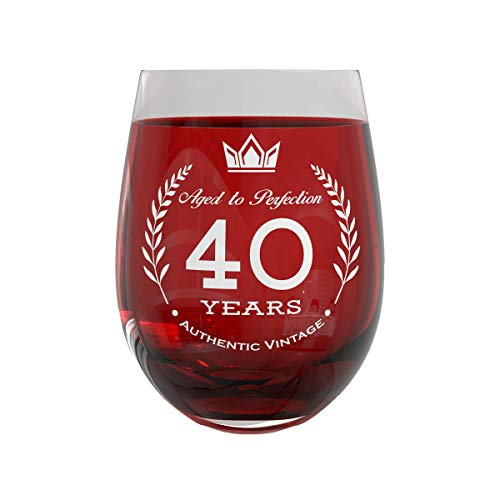40th Birthday Gift Wine Glass | Party Decorations for Anniversary & Fancy Celebration | 20oz Stemless Vintage Glass for Men & Women | Sturdy Glassware with Elegant 40 Years Aged to Perfection Design