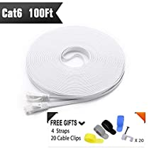 Cat 6 Ethernet Cable 50ft White (At a Cat5e Price but Higher Bandwidth) Flat Internet Network Cables - Cat6 Ethernet Patch Cable - Cat6 Computer Lan Cable Short with Snagless RJ45 Connectors