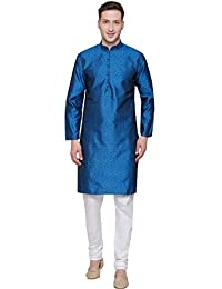 Maple Clothing Men's Kurta Pajama Jacquard Silk Indian Party Dress