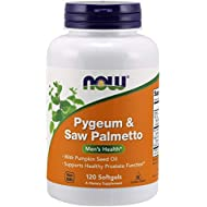NOW Supplements, Pygeum & Saw Palmetto with Pumpkin Seed Oil, Men's Health*, 120 Softgels