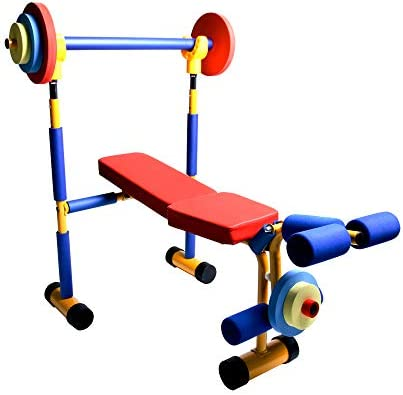 Akicon Kids Exercise Equipment – Adjustable Toy Weight Bench Set Workout Bench Press