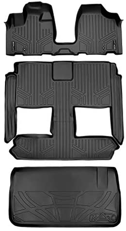 MAXLINER Floor Mats 3 Rows and Cargo Liner Behind 3rd Row Set Black for 2008-2018 Dodge Caravan/Chrysler Town & Country (Stow'n Go Only)