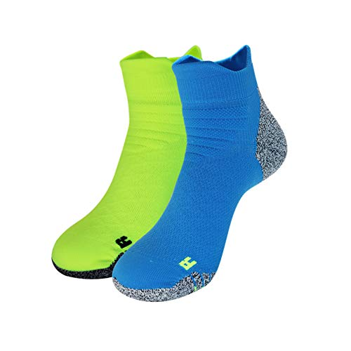 Athletic Socks 2 Pairs No Show Sport Socks Workout Runnning Socks for Men Women (Blue,Green)