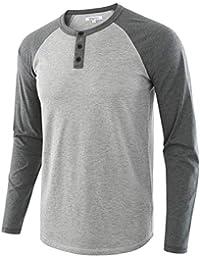 Men's Casual Vintage Long Sleeve Raglan Henley Shirts Baseball T-Shirt