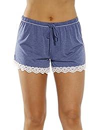 Womans Pajamas Shorts - Lace Trim & Pocket Sleepwear