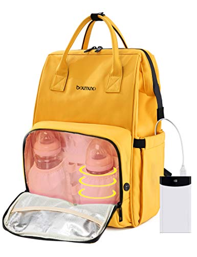 Boumuno Diaper Bag Backpack Baby Changing Nappy Bags Multifuction Waterproof Maternity Large Capacity with Insulated Pockets Stroller Straps,Yellow