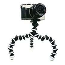 BLISS Octopus Portable Flexible Tripod Stand Holder for iPhone DSLR Camera Cell Phone, Bendy Adjustable Mini Webcam Mount for YouTube Video, M-Size (Black White)