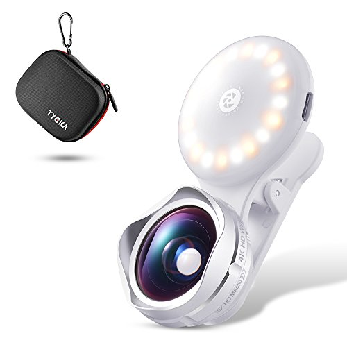 TYCKA Cell Phone Lens with Beauty LED Selfie Light, 15X Macro Lens & 110° Wide Angle Lens, 3-Mode Adjustable Brightness Fill Light for iPhone 8 7, 6s 6s Plus, 6 6Plus, 5 5s se, Samsung, LG, HTC