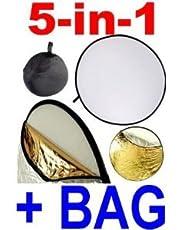 Neewer Disco riflettente pieghevole 5 in 1, traslucido, argento, oro, bianco e nero, diametro 80 cm, da studio o per qualsiasi situazione fotografica