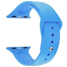 Apple Watch Replacement Band - LNKOO Soft Silicone Replacement Sports Wristbands Straps for Apple Wrist Watch iWatch All Models Formal Colors S/M Size-38mm/Blue