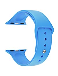 Apple Watch Replacement Band - LNKOO Soft Silicone Replacement Sports Wristbands Straps for Apple Wrist Watch iWatch All Models Formal Colors S/M Size-42mm/Blue