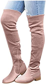 Womens Solid Flock Knee-High Boots Thigh High Boots Warm Zipper Over The Knee Long Boots Casual Chunky Block H