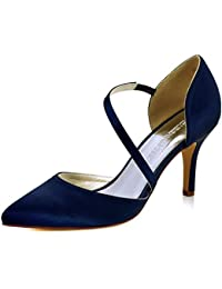 Women High Heel Strappy Dress Pumps Pointy Toe Satin Wedding Party Shoes