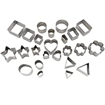 YuheBaby Cookie Cutters Set of 24 Pieces Mini Heart Star Round Rectangle Square Shapes Stainless Steel Decorating Kit for Kids