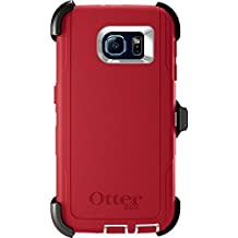 OtterBox DEFENDER SERIES Case for Samsung Galaxy S6 - Retail Packaging - (White/Scarlet Red)