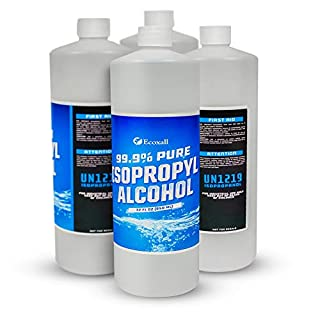 Ecoxall Chemicals - 99.9% Pure Isopropyl Alcohol - Equal to 1 Gallon - 4 Bottles - 32oz per Bottle - Concentrated Rubbing Alcohol - Fastest Delivery - USP Medical Grade