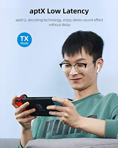 Hagibis Bluetooth 5.0 Transmitter & Receiver, 2 in 1 Wireless aptX LL Audio 3.5mm Jack Adapter Support aptX Low Latency, for TV/Car/Nintendo Switch/Speaker, Support RX TWS & TX 1 to 2 (Red)