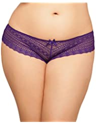 Seven Til Midnight Women's Plus-Size Tangled Lace Panty with Lace-Up Detail