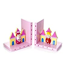 Mousehouse Gifts Wooden Prince & Princess Pink Pink Bookends For Kids Room