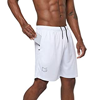 "G Gradual Men's 7"" Workout Running Shorts Quick Dry Lightweight Gym Shorts with Zip Pockets (White, Medium)"