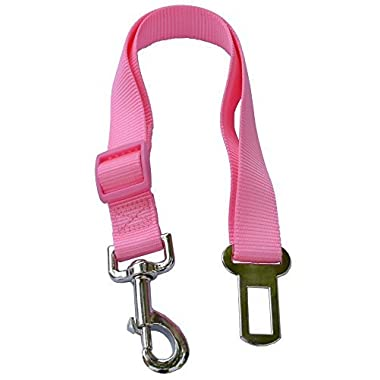 Lanyarco® Hot Pink Pet Dog Adjustable Car Automotive Seat Safety Belt Vehicle Seatbelt Leash Lead Travel for Small / Medium / Large Dogs,cats