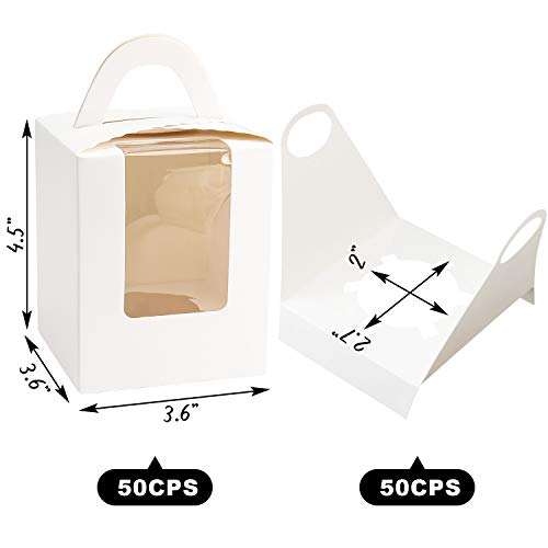White Cupcake Boxes,50pcs Single Cupcake Carrier with Window Insert and Handle Kraft Pastry Containers Muffins Cupcake Carriers for Bakery Wrapping Party Favor Packing