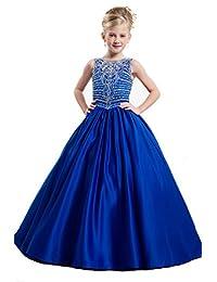 BoShi Girls' O Neck Beading Kids Princess Long Pageant Dresses