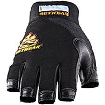 "SetWear Genuine Leather Fingerless Gloves, Pair XX-Large (Size 12) Approximatly 5""5.5"" / 12.7-13.97cm, Black/Black"