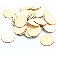 DDN 2-Inch Unfinished Round Wooden Circles Blank Wood Cutout Slices Discs DIY Crafts(50pcs)