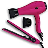 PARWIN PRO 2 in 1 Styling Toolkit Foldable Hair Dryer & Flat Iron Set – 1 inch Ceramic Tourmaline PTC Heating Straightener and 1875W Blow Dryer with Ionic Technology, Pink