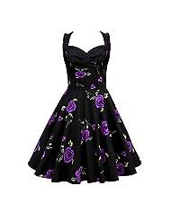 Women's Cut Out V-Neck 1950s Vintage Polka Dot/Floral Party Dresses