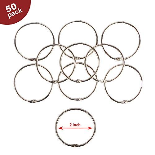 Eagle Loose Leaf Binder Rings, Book Rings, Keychain, Key Rings, 2-inch Diameter, 50 Rings, Silver (Diameter Ring Pull)