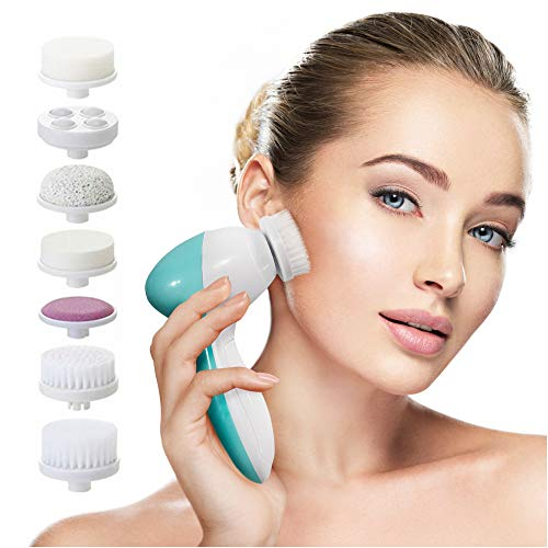 Facial Cleansing Brush Face Spin Brush with 7 Exfoliating Brush Heads for Gentle Exfoliation and Deep Scrubbing…