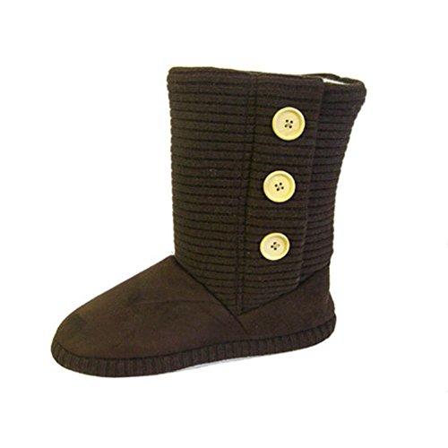 acanalado zapatillas botas con detalle de botón Marrón