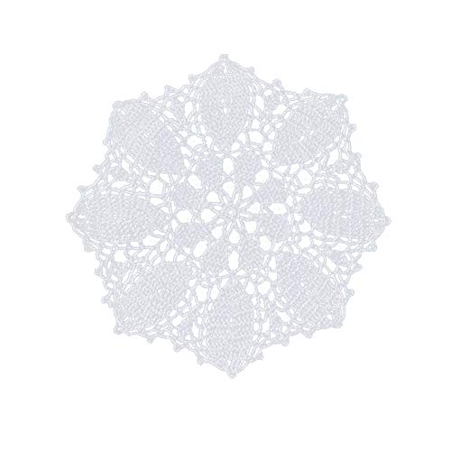 - yazi Handmade Cotton Flower Placemats Doily Crochet Lace Table Doilies Round Coasters White Placemats for Dining Table 9 inches