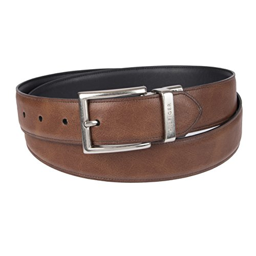 Tommy Hilfiger Reversible Leather Belt - Casual for Mens Jeans with Double Sided Strap and Silver Buckle , cognac/black, 36 - Engraved Black Leather