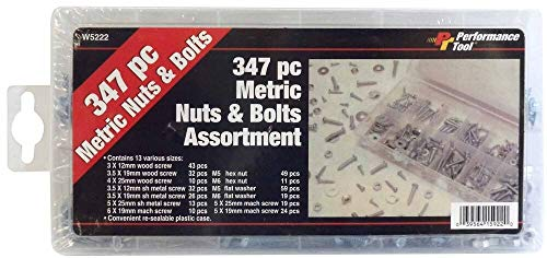 BARJAN W5222-347 Piece Metric NUT & Bolt Assortment in RE-USEABLE Plastic -