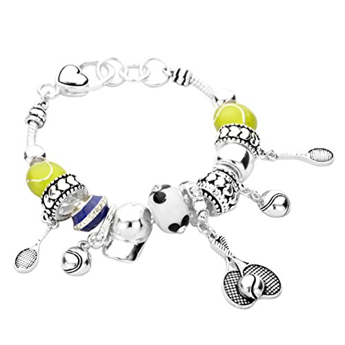 Rosemarie Collections Women's Tennis Theme Beaded Charm Bracelet (Silver)