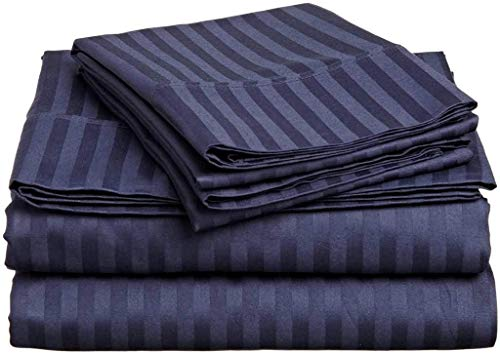 "True linen 4PCs Sheet Set 100% Egyptian Cotton 600 Thread Count Full Navy Blue Stripe (15"" Drop)"
