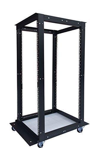 27U 4 Post Open Frame 19'' Network Server Rack Cabinet Adjustable Depth 24''-37''