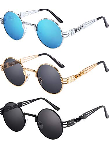 Blulu 3 Pair John Round Sunglasses Circle Metal Spring Frame for Men and Women, Included Glasses Cloth and Velvet bag
