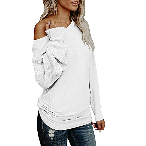 Price comparison product image Caopixx Womens Knitted Sweater Off Shoulder Casual Loose Long Sleeve Pullover Jumper Sweatshirt