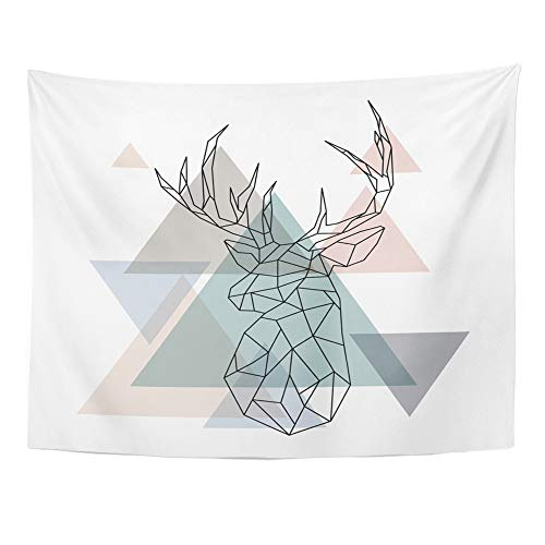 (Emvency Tapestry Wall Hanging Polyester Fabric Colorful Christmas Geometric Reindeer Abstract Deer Head Scandinavian Stag Home Decor for Living Room Bedroom Dorm 60x80)