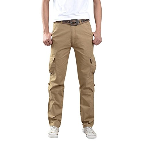 HTHJSCO Men's Jogger Pants - Casual Straight Tapered Trousers with Elastic Waist, Casual Loose Sweatpants Drawstring Pant (Khaki, 33) by HTHJSCO