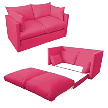 Beau Ready Steady Bed Comfortable Childrenu0027s Kids Drill 2 Seater Sofa Bed,  Fuchsia Pink