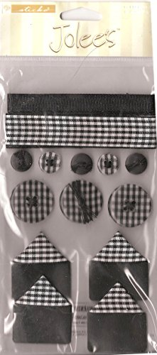 Jolee's Sticko Gingham Sampler Buttons Ribbons and photo corners BLACK vintage ()